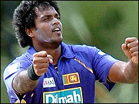 Dilhara Fernando celebrates one of his four wickets in Colombo