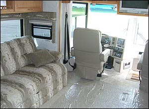 Photo of the interior of the accessible Winnebago