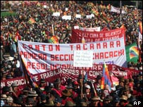 People from La Paz state march in El Alto, Bolivia, (July, 20, 2007)