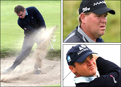 Former champions Nick Faldo (left), John Daly (top) and Paul Lawrie (bottom)