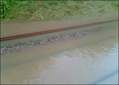 Flooded railway line between Chippenham and Swindon UGC