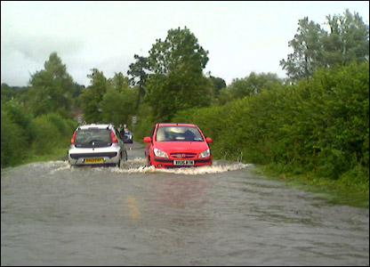 Flooded road at Coleshill UGC