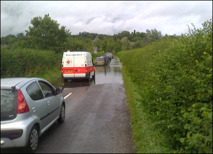 Traffic jam in Coleshill floods UGC