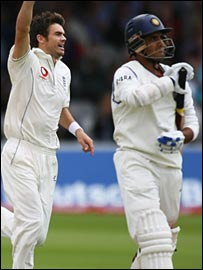 James Anderson shows his delight after bowling Sourav Ganguly