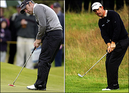 Ireland's Paul McGinley (left) and Padraig Harrington (right) both shoot 68