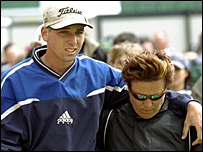 Sergio Garcia and his mum in 1999