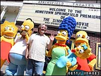 Simpsons creator Matt Groening (c) with the famous family