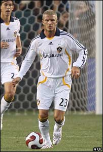 David Beckham in action for the LA Galaxy in Carson, California