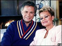 Jim and Tammy Faye Bakker in 1987 file shot