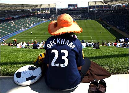A David Beckham fan gets in early for LA Galaxy's friendly game against Chelsea