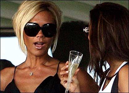Victoria Beckham and Eva Longoria drink champagne