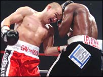 Gavin Rees lands a body shot against Souleymane M'Baye