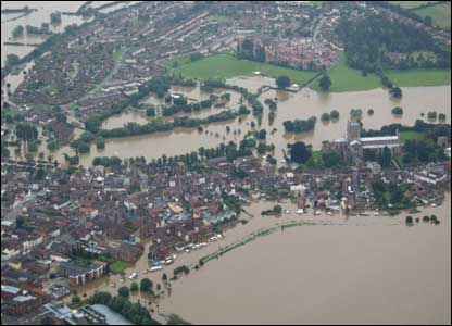 aerial photo of flooding