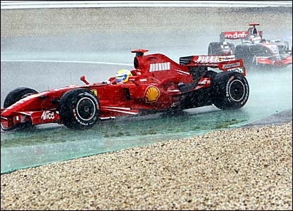 Felipe Massa drives in the rain