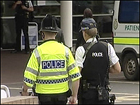 Armed police outside hospital