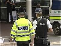 Armed police outside hospital