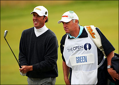 Richard Green (left) and caddie on the 15th