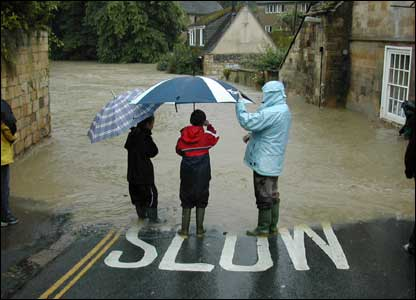 The village of Winchcombe during the floods