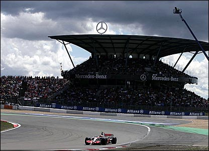Lewis Hamilton drives at the European Grand Prix