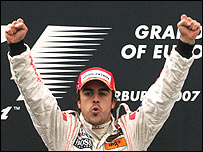 Fernando Alonso celebrates his brilliant victory in the European Grand Prix