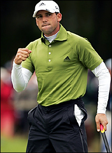Sergio Garcia celebrates a birdie on 13