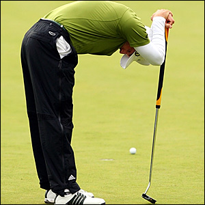 Sergio Garcia reacts after missing a putt to win The Open