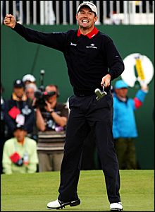 Padraig Harrington celebrates after winning The Open