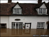 Flooded homes in Tewkesbury