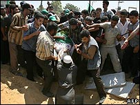 A Hamas militant killed by Israeli troops is buried in Gaza 22/7/07