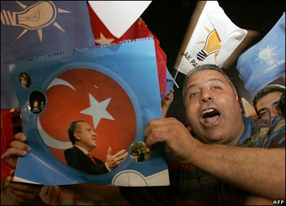 Supporters of the AK Party celebrate in Ankara