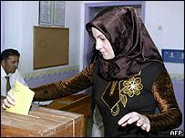 A Turkish girl casts her vote during elections in Ankara