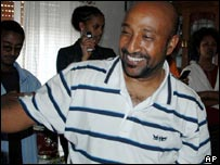 Berhanu Nega celebrates at his parents' Addis Ababa home after his pardon and release from prison