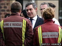 Gordon Brown meets fire crews