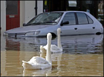 Car hit by flooding in Worcestershire