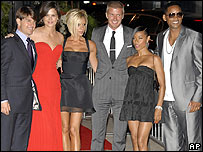 Left-right: Tom Cruise, Katie Holmes, Victoria Beckham, David Beckham, Jada Pinkett Smith, Will Smith