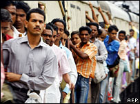 Train passengers in India
