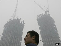 Polluted haze in Beijing on 3 July 2007