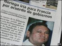 Periódico informa sobre el caso de Noriega