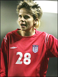 Sue Smith in action for England