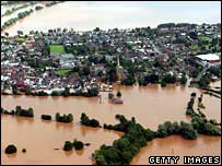 Flooded Upton pictured from the air in the summer