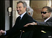 Tony Blair arriving at the King David Hotel, Jerusalem
