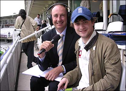 Jonathan Agnew with Harry Potter actor Daniel Radcliffe