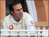 England captain Michael Vaughan sits on the team balcony