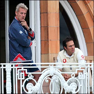 England coach Peter Moores and captain Michael Vaughan