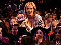 JK Rowling launching the final Harry Potter book at the Natural History Museum