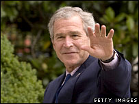 President George W Bush returns to the White House from Camp David, 22 July