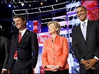 Senators John Edwards, Hillary Clinton and Barack Obama (left to right)