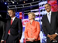 Senators John Edwards, Hillary Clinton and Barack Obama (left to right, file image)