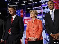 Precandidatos demócratas en el debate de YouTube