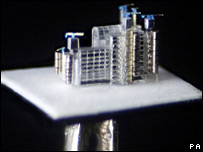 Pin-sized replica of the Lloyd's Building